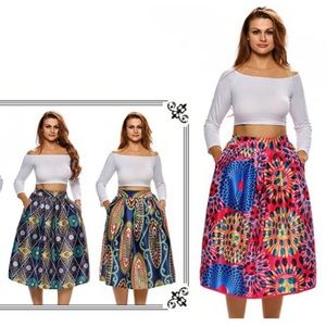 Dresses & Skirts - 🆕 Bohemian High waist Print Flare Skirt w Pockets